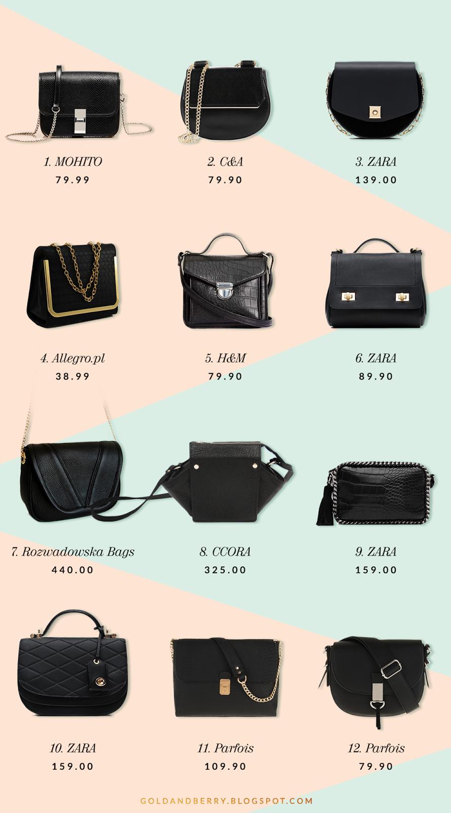The Little Black Bag - Mała, czarna torebka - gdzie kupić podobną - MINI TOREBKA LISTONOSZKA ZE ZDOBIENIEM - GoldandBerry blog Gold and Berry STYLE