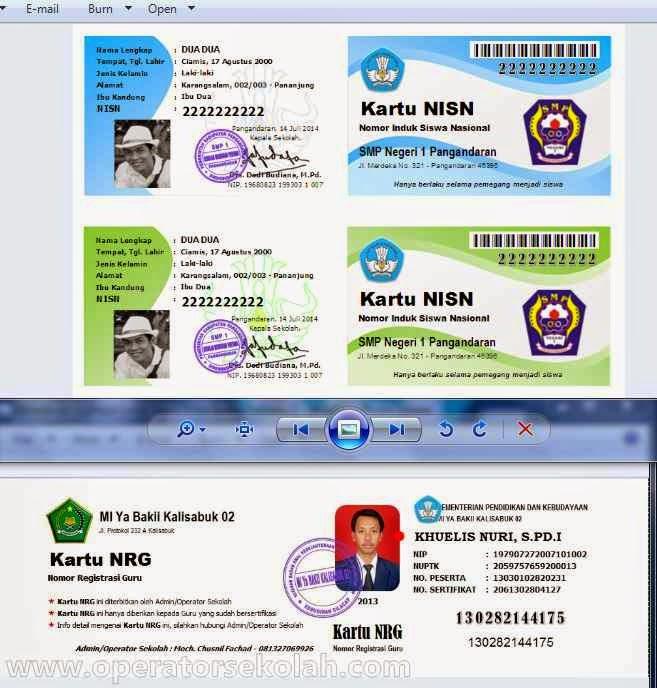 contoh hasil aplikasi cetak kartu NRG