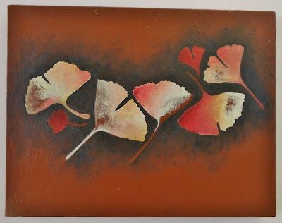 motif décoratif feuille gingko biloba création originale sur toile collage et peinture acrylique par mimi vermicelle
