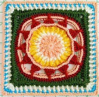 """Free Granny Square Crochet Pattern - Prince Protea 12"""""""