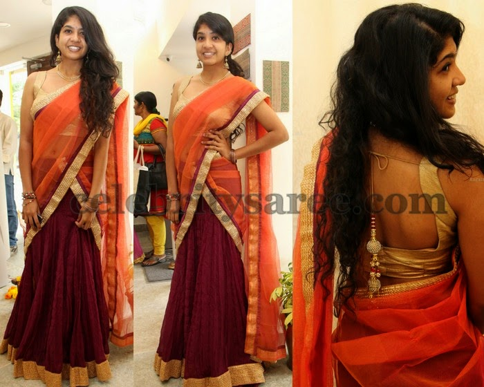 Girl in Crushed Half Saree