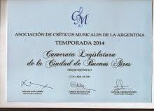 PREMIO A LA CAMERATA LEGISLATURA, DE LA CUAL SOY INTEGRANTE!