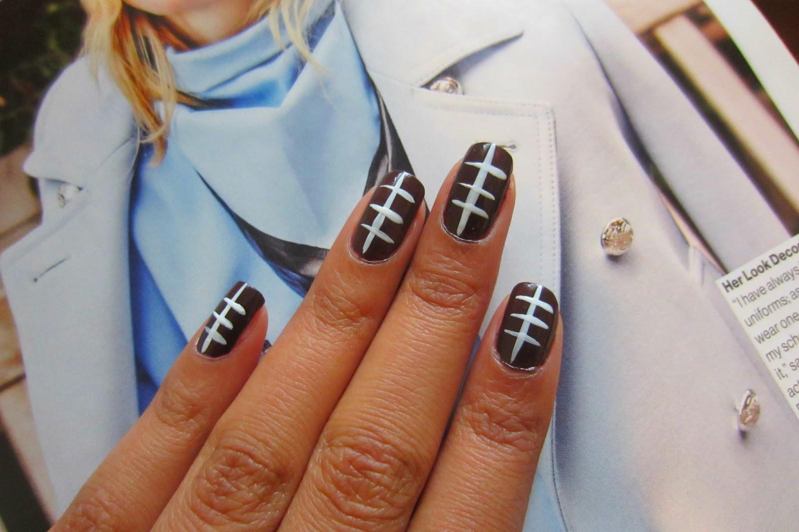 Inspired Katy Perry Football nail art