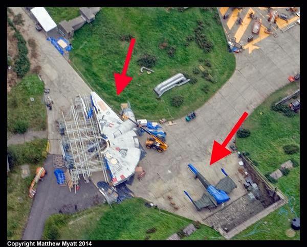 Halcón Milenario y los X-Wing en el set de Star Wars Episodio VII