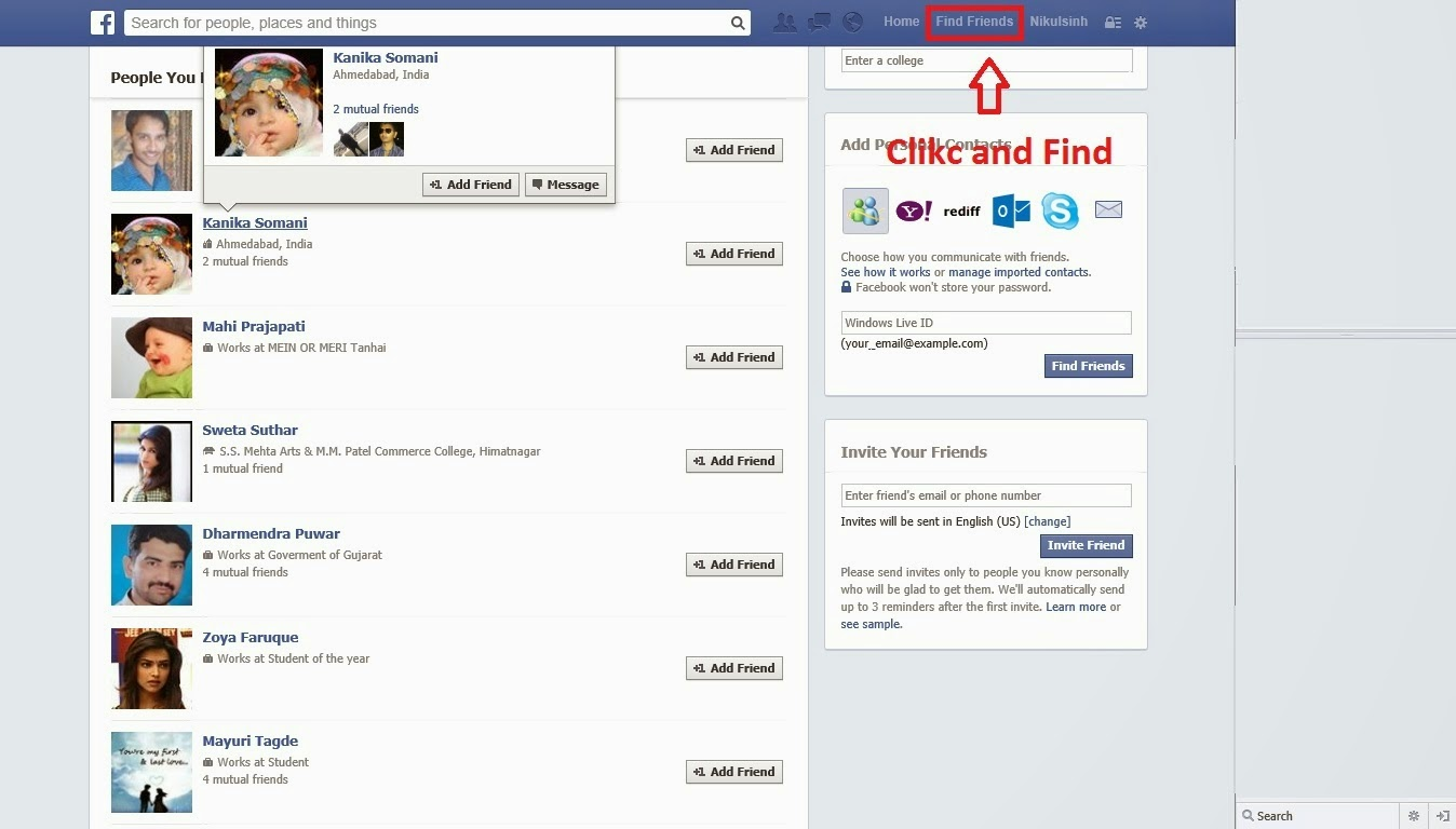 How to find Hidden friends in Facebook account ~ Chand2 Like