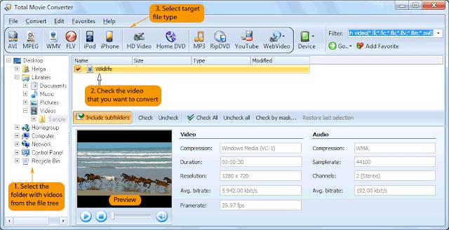برنامج متكامل لتحويل جميع أشكال الفيديو المعروفة Total Movie Converter-3.2.1