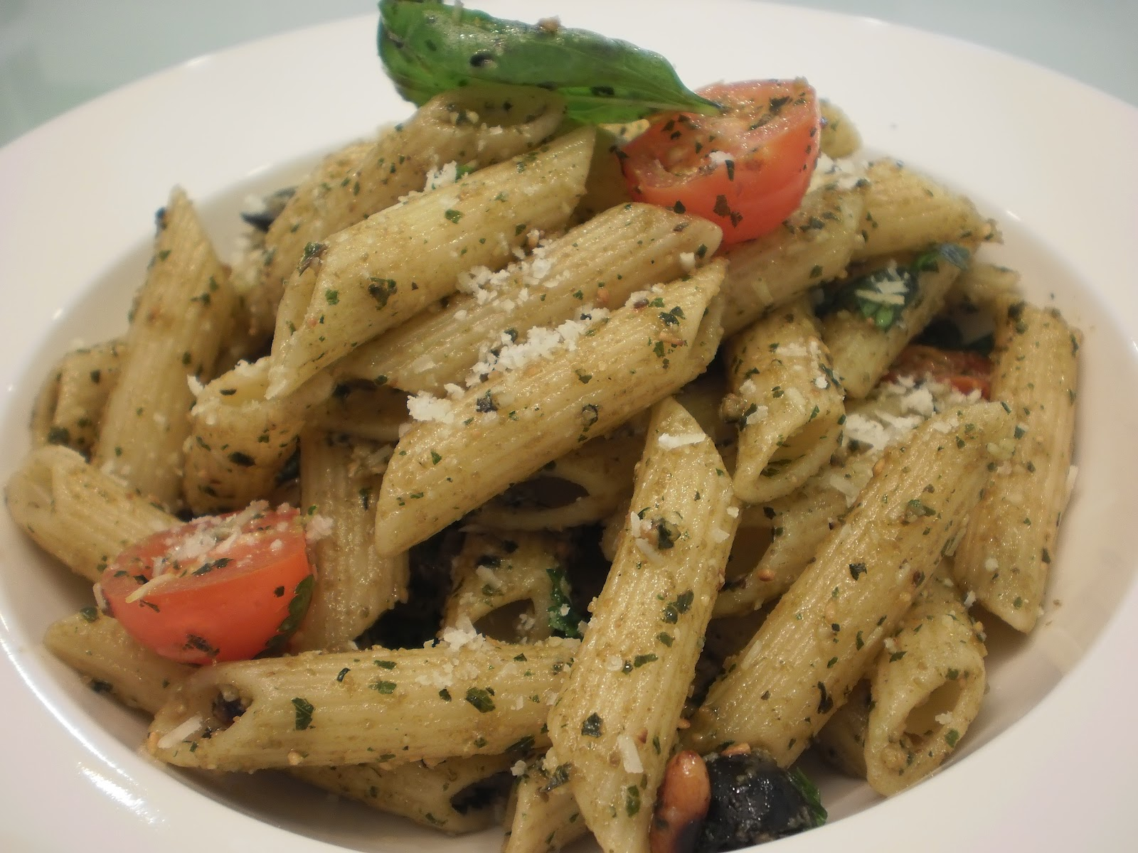 pistachio pesto on penne basil pesto on penne was one of those penne ...