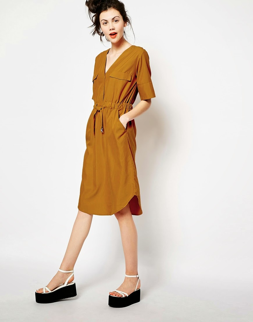 mustard shirt dress, mustard belted dress, monki mustard dress,