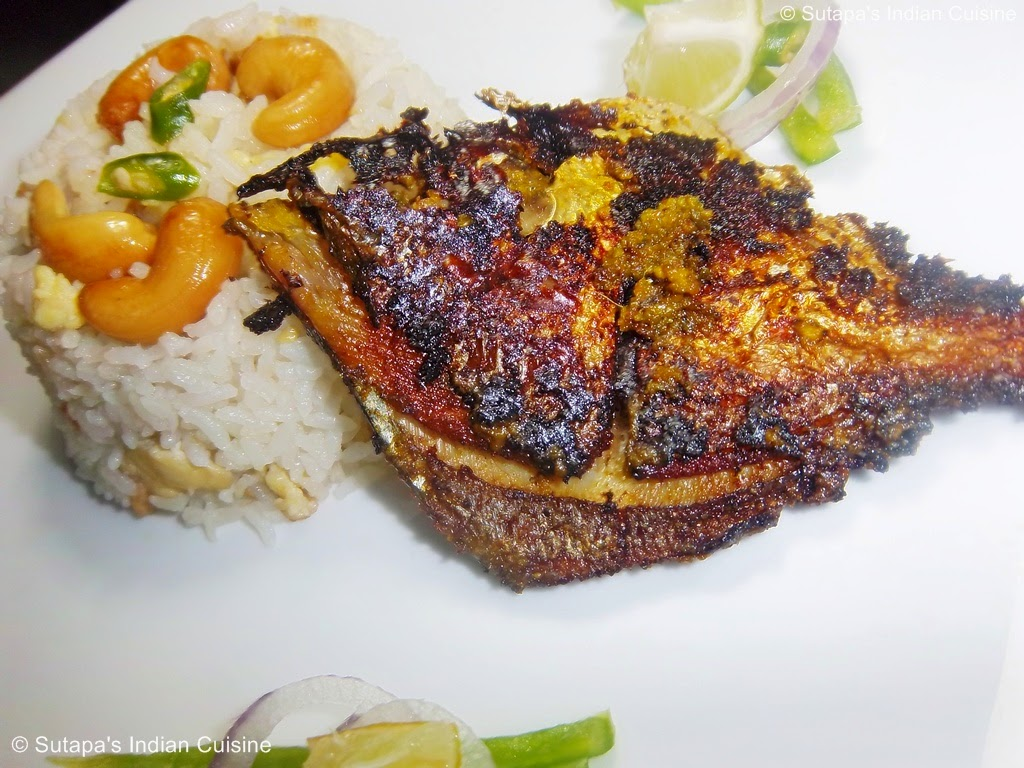 Pan grilled pomfret fish with egg and cashew fried rice for Atlantic fish fry