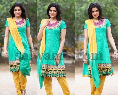 Sakshi Chowdary Green Churidar