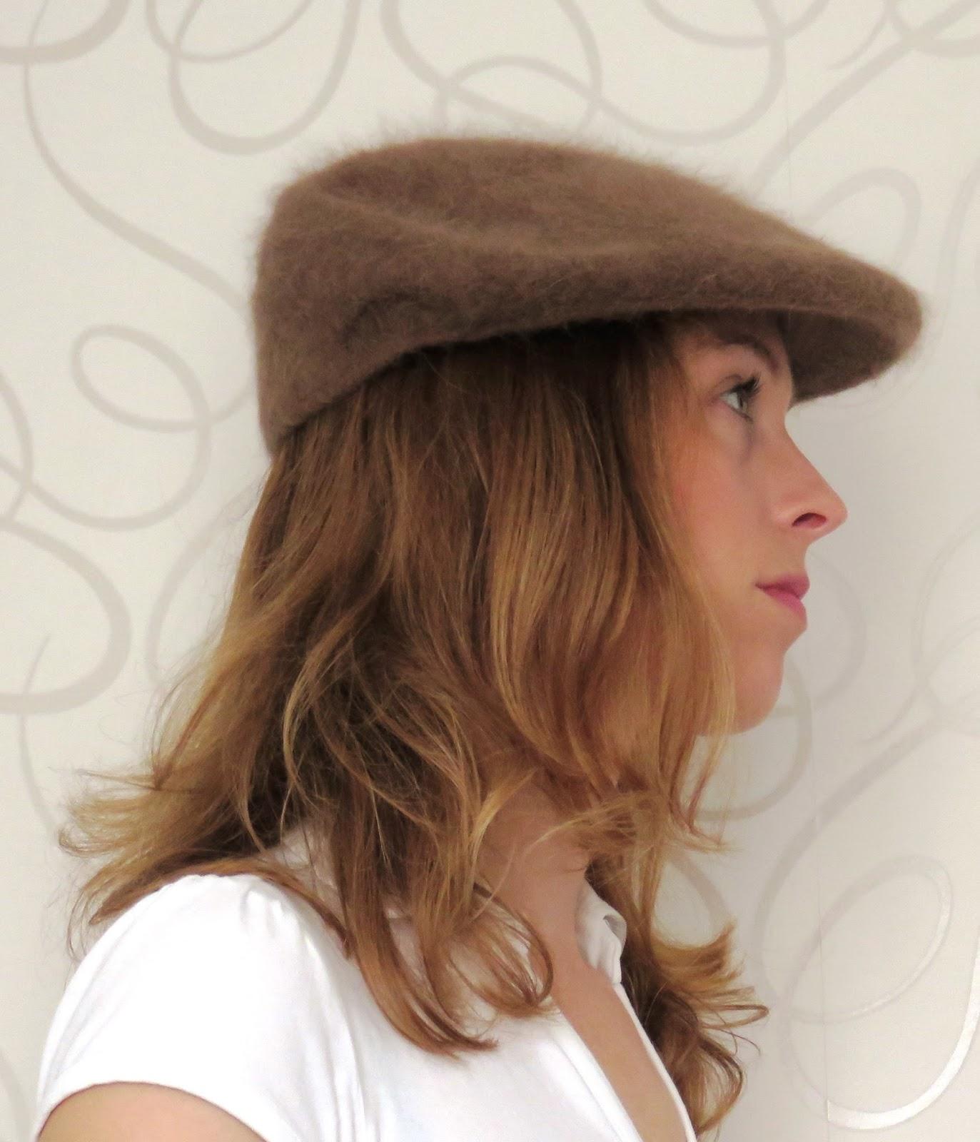 fluffy angora flat cap
