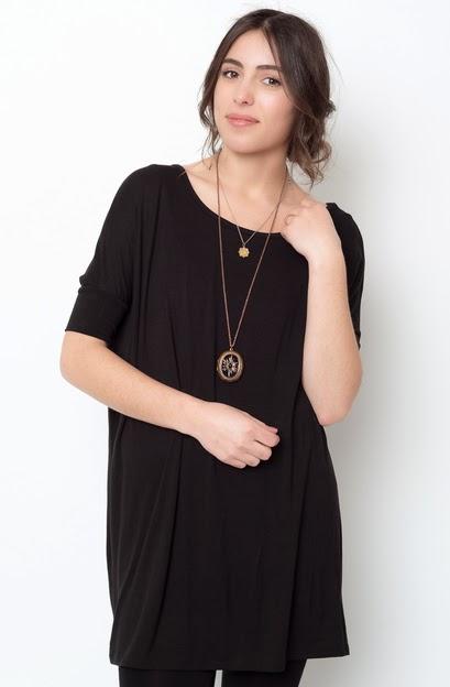 Buy online short sleeve black ballet sleeve tunic for women on sale