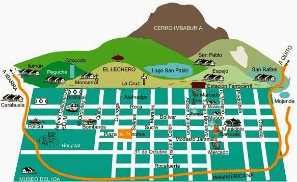 Mapa de Otavalo y sus alrededores