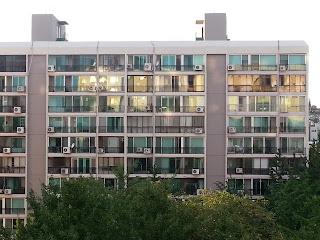 golden glow on the apartment windows