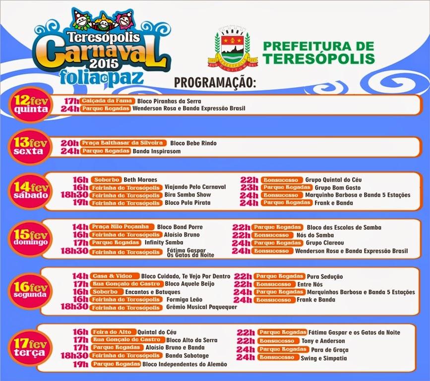 Prefeitura de Teresópolis divulga programação do Carnaval Folia e Paz