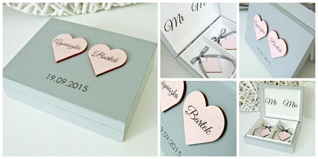 romantyczne pudełko skrzyneczka na obrączki by Eco Manufaktura. Wedding ring box.