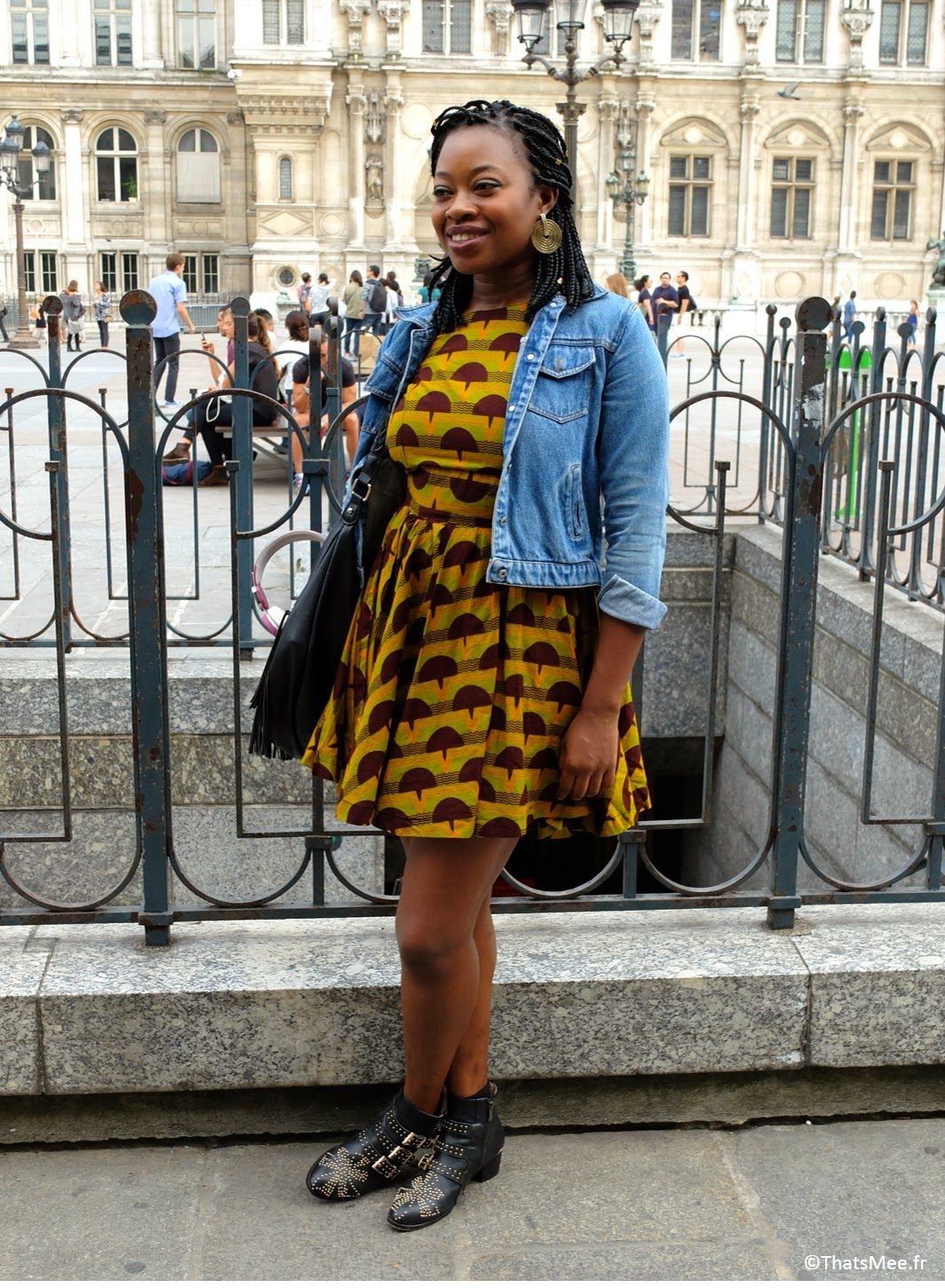 style de la semaine ootd modern african queen ThatsMee.fr, sac André franges, boots Choies Chloé, robe homemade cousue wax tissu africain