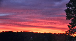 photo of red sky at morning