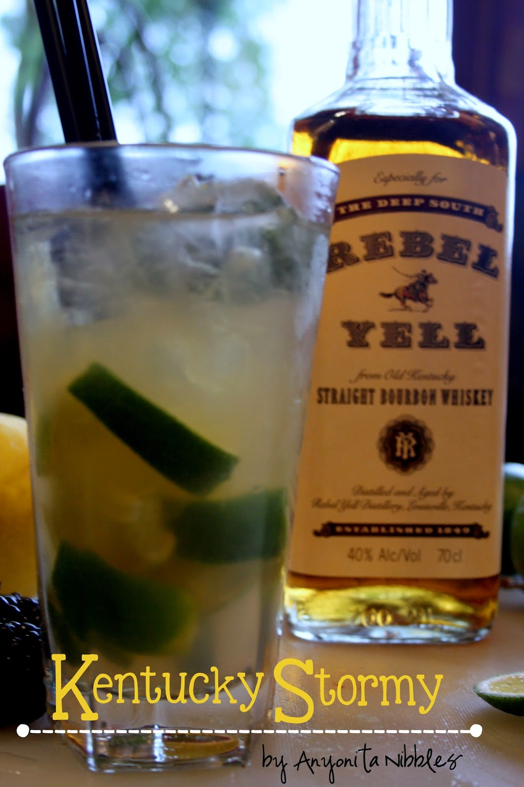 A highball of a lime and bourbon Kentucky Stormy cocktail by Anyonita Nibbles
