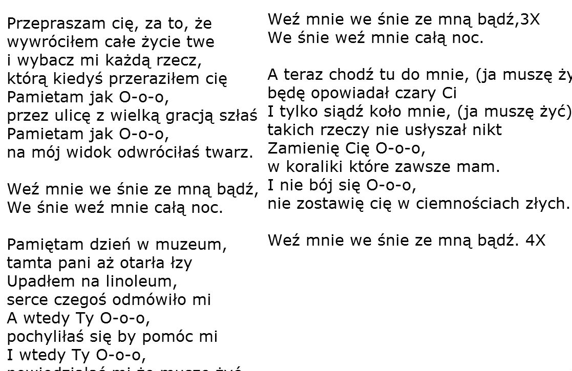 Polish Songs With Lyrics Chords