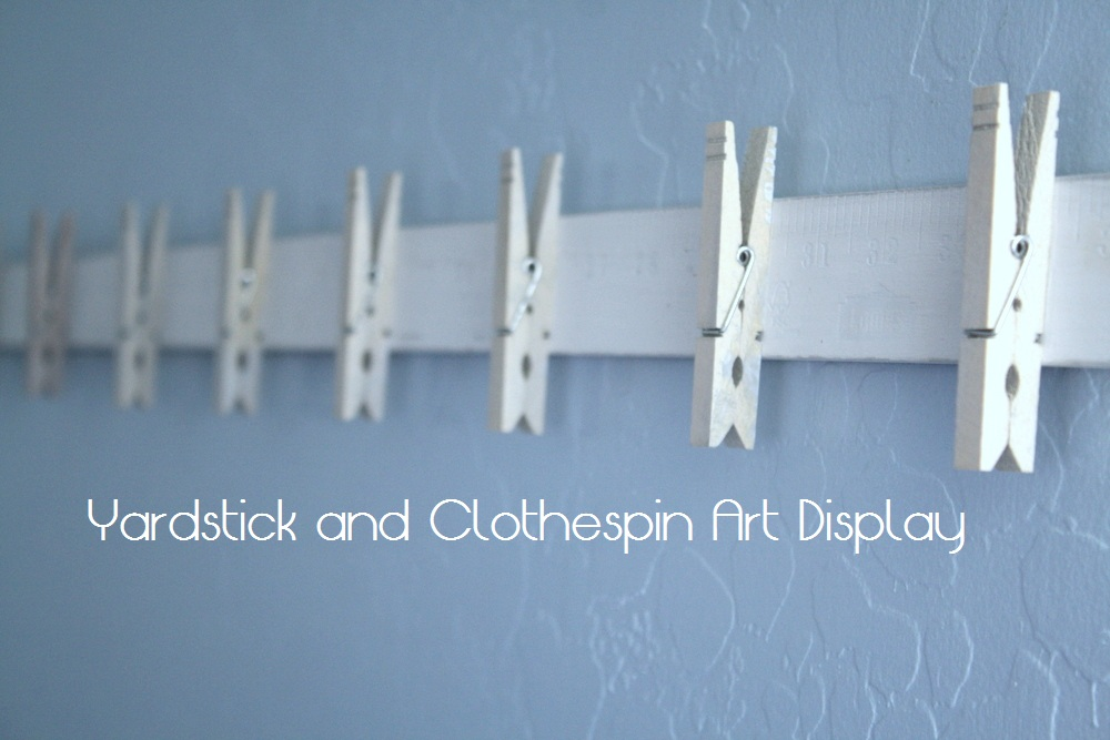 My domestic daybook yardstick and clothespin art display for Baseball cap display ideas