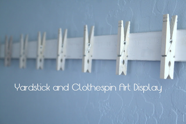 My domestic daybook yardstick and clothespin art display for Hat hanging ideas