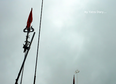The trident impressively standing against the skyline, Tungareshwar temple in Vasai, Mumbai