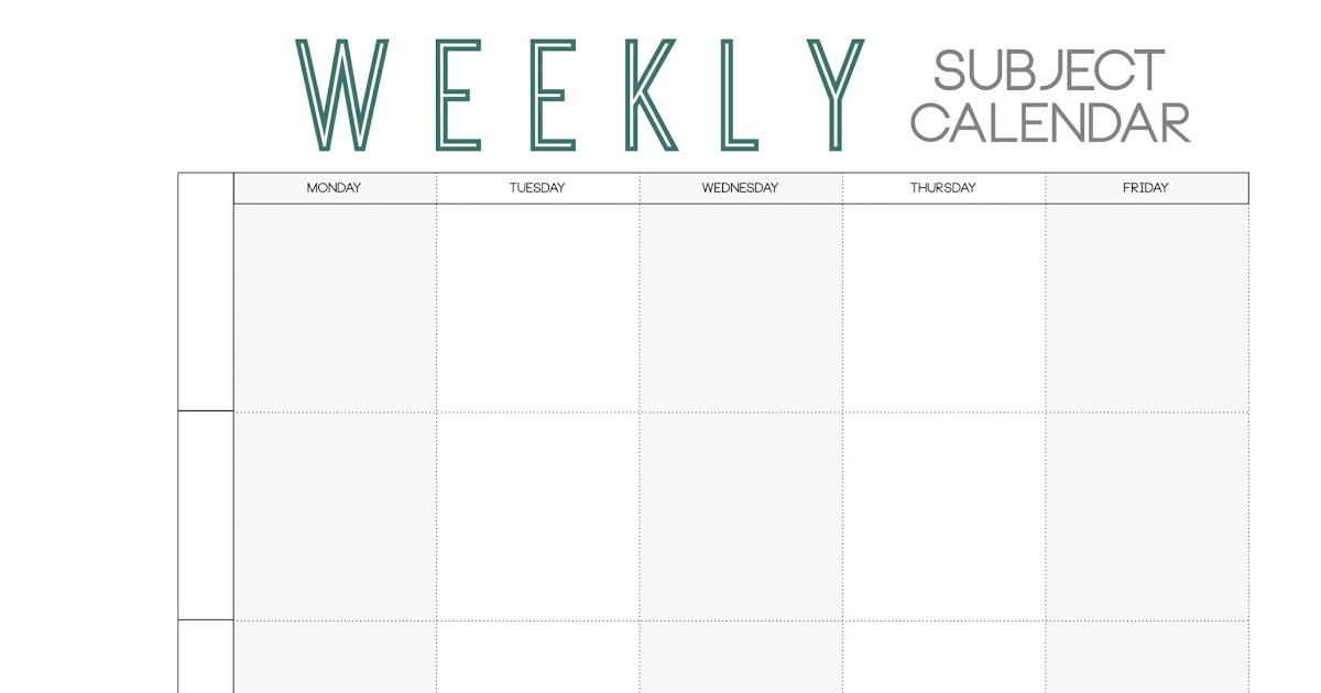 Paper + Ink: Free Weekly Subject Calendar