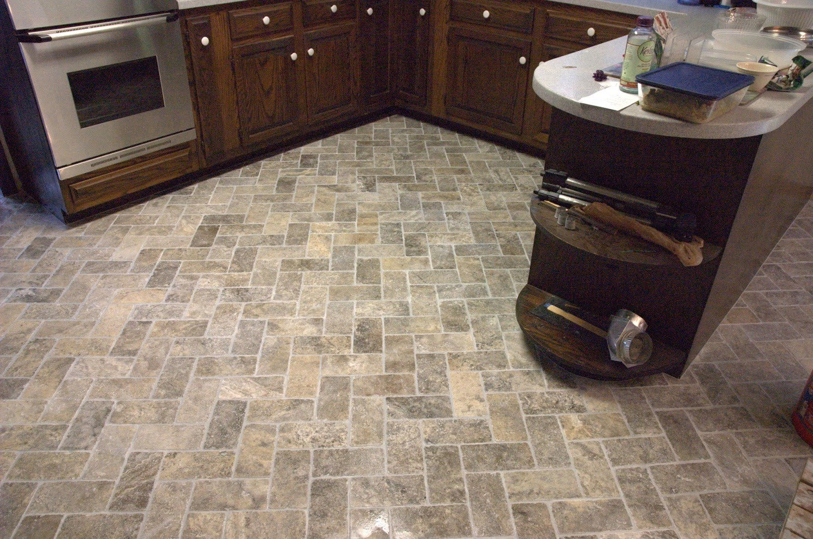 Natural Stone Kitchen Flooring Custom Bathroom Remodeling Natural Stone Herringbone Tile Floor