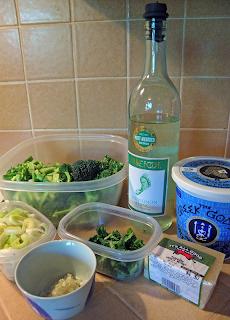 Broccoli, Wine, Yogurt, Parmesan, Basil, Onion, Garlic