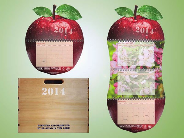 Diamond Packaging 2014 Calendar features offset printing, foil stamping, embossing, and sustainable technologies.
