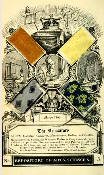 Woodcut showing fabric samples  from Ackermann's Repository (1809)