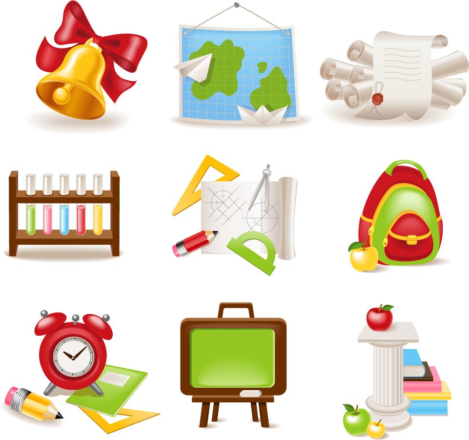 学習関連の学用品クリップアート cartoon school supplies イラスト素材