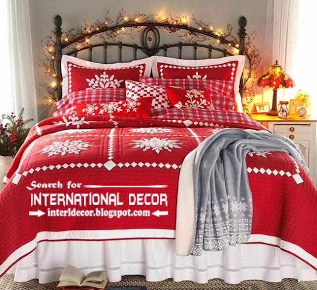 Christmas decorations for bedroom 2015 in new year, Christmas red linen for bedroom