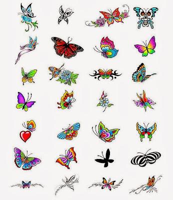 diversos moldes com figuras de borboletas para fazer tatuagens