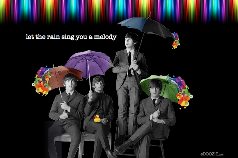 beatles, famous musicians, melody, song and singing, umbrella, quotes, rain, colorful, color with fun, rubber duck, ducky, english humor