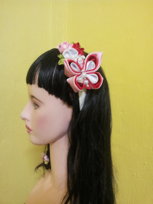 tsumami kanzashi, headband, butterfly, plum blossom, hair accessorry, cekak rambut