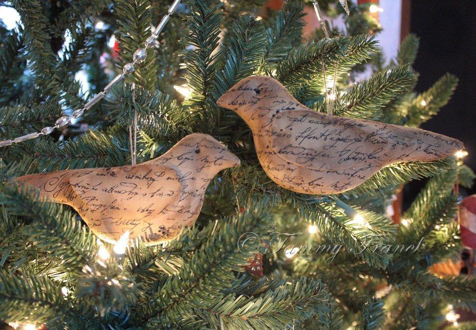 primitive vintage script bird ornaments - Primitive Christmas Ornaments