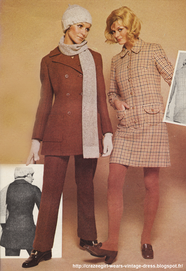 1969 dress  suits jackets  pants 1960 60s twiggy wool plaid pea coat peacoat