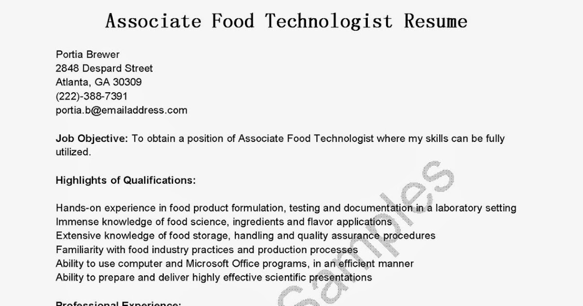 Great Sample Resume: Resume Samples: Associate Food Technologist Resume  Sample