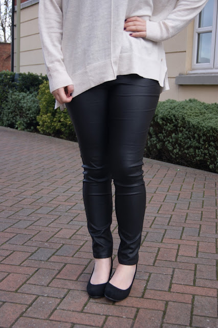 H&M cream oversized slouchy jumper, ASDA faux pleather trouser leggings, ASDA black suede wedge heels, cosy, winter, Nars Audacious lipstick in Grace on pale skin