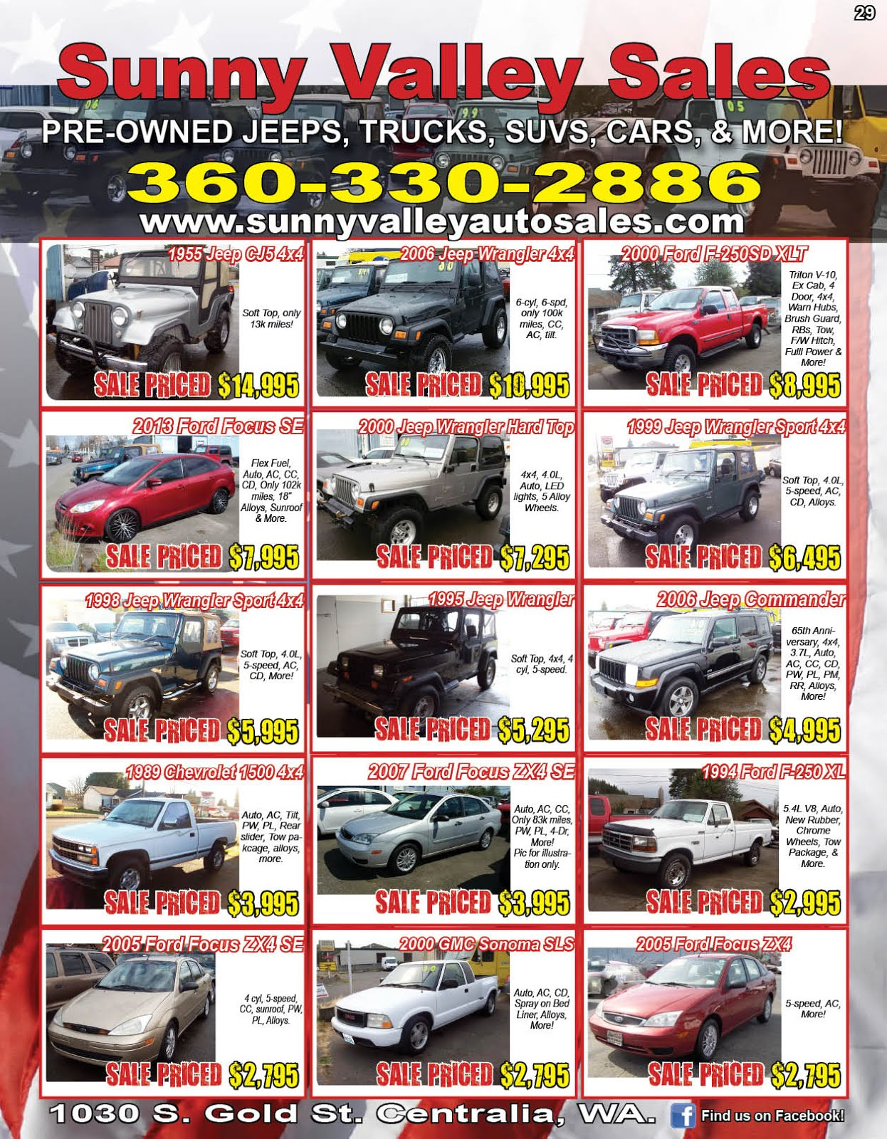 """Sunny Valley Sales"" Used Jeeps, Trucks, Cars, Motorcycles, ATVs, Classics, More!!"