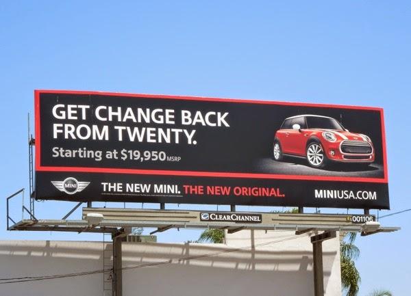 change from twenty New Mini billboard