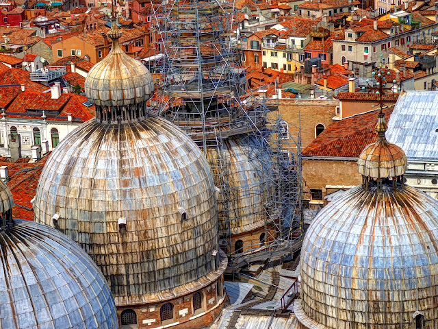 Roof of Basilica Cattedrale Patriarcale di San Marco (St. Mark's Basilica) As Seen from The Campanile
