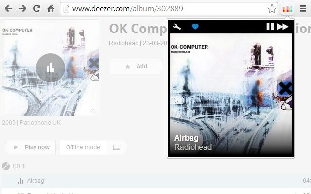 Deezer Control chrome