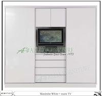 Lemari minimalis  tv sliding unit white
