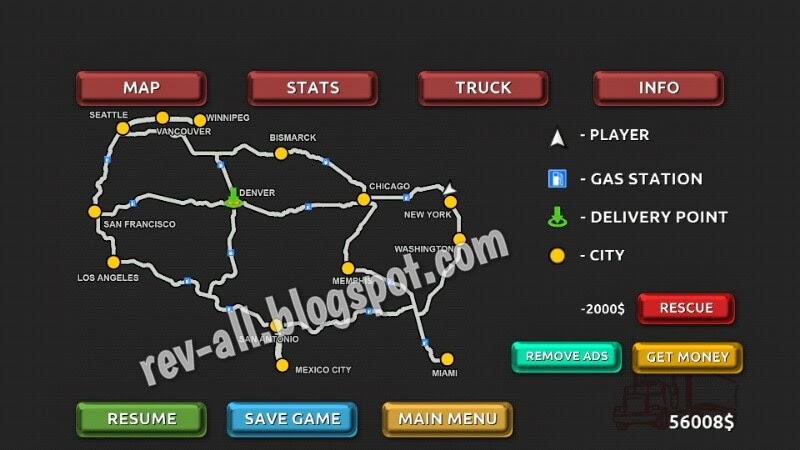 Peta perjalanan - Truck Simulator 3D, permainan simulasi mengendarai truk untuk android (rev-all.blogspot.com)