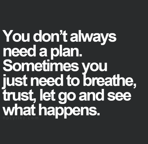 You don't always need a plan. Sometimes youjust need to breather, trust, let go and see what happens
