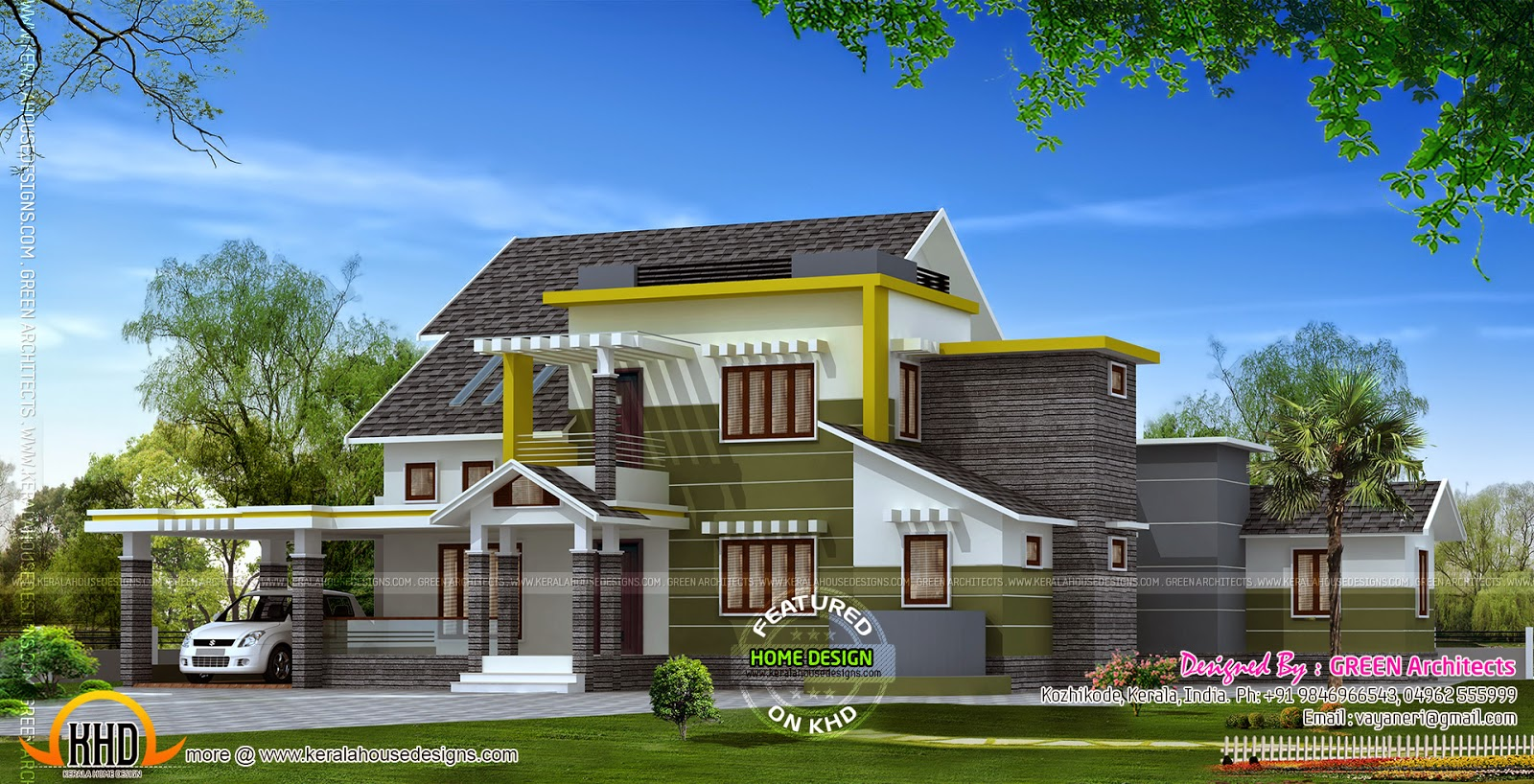 4 bhk contemporary house kerala home design and floor plans for 4 bhk home design