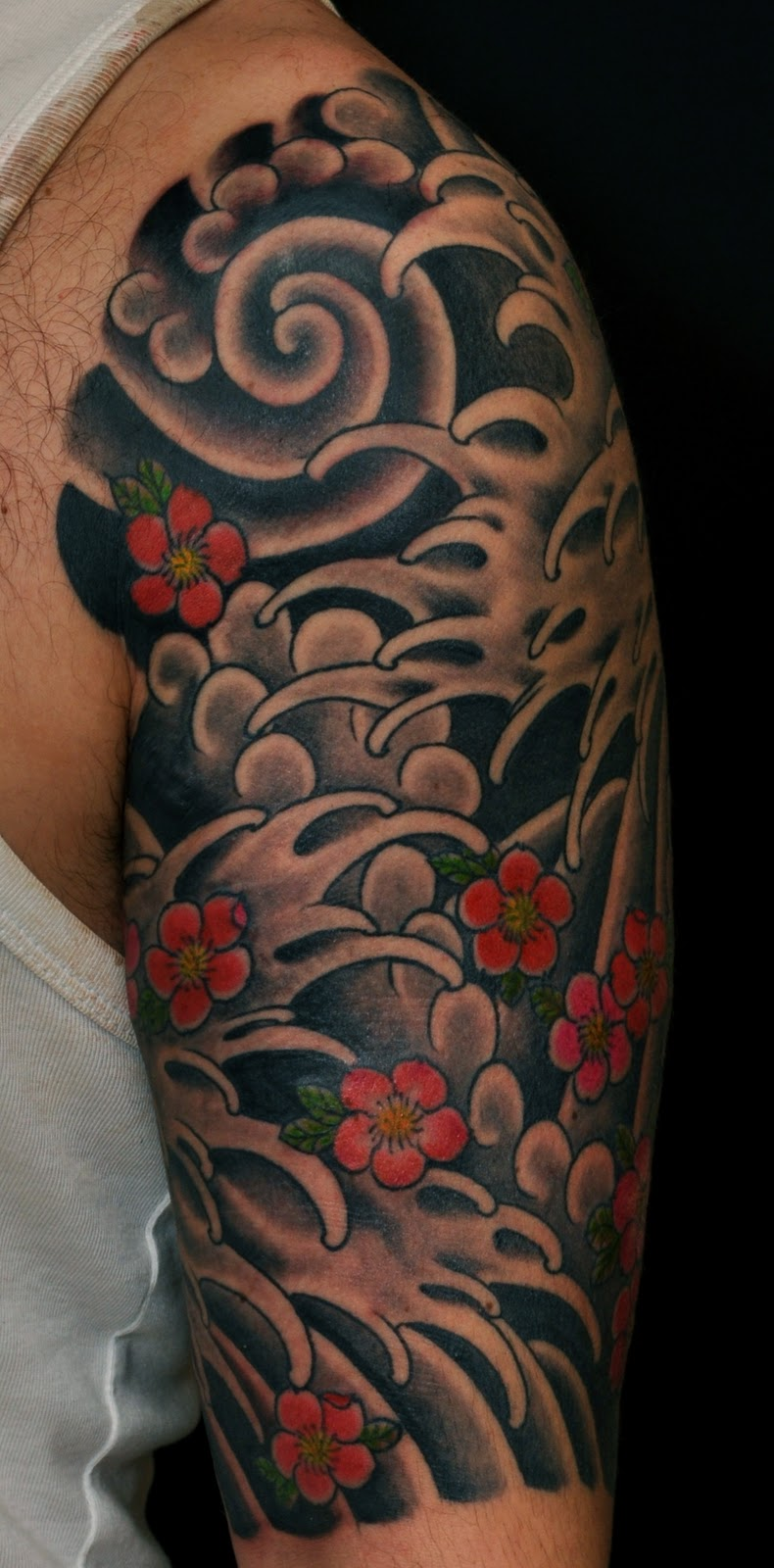 Dadan horton water and cherry blossom for Japanese wave and flower tattoo